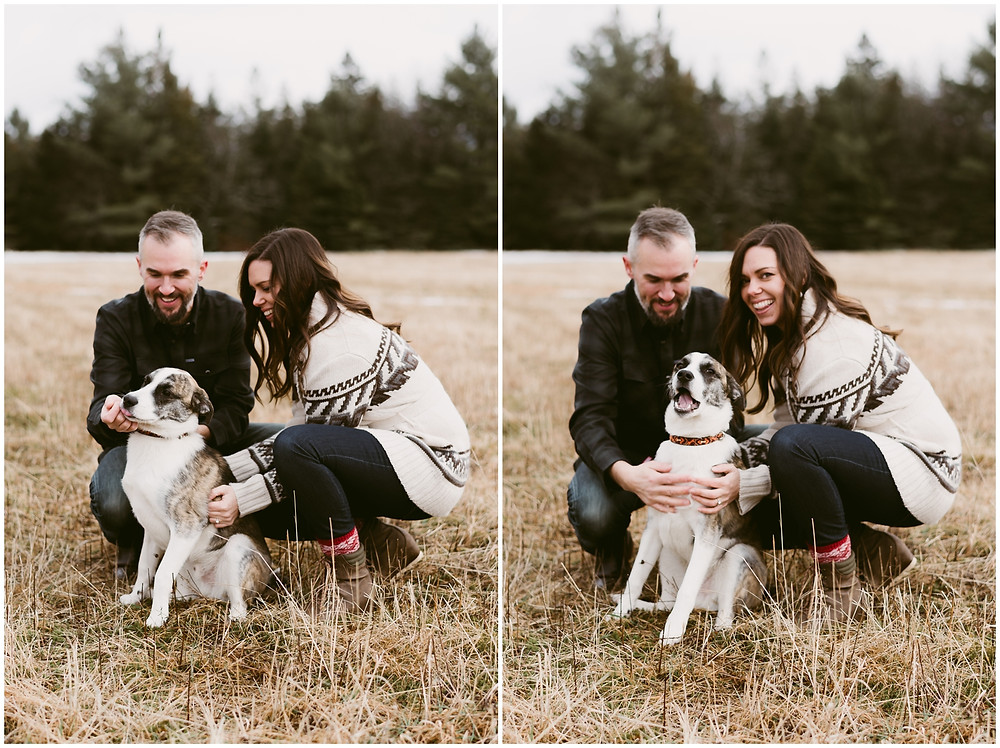 Fun engagement photos with your dog by Mountainaire Gatherings