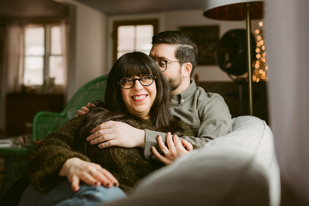Cozy Upstate New York In-Home Engagement Session | Mountainaire Gatherings