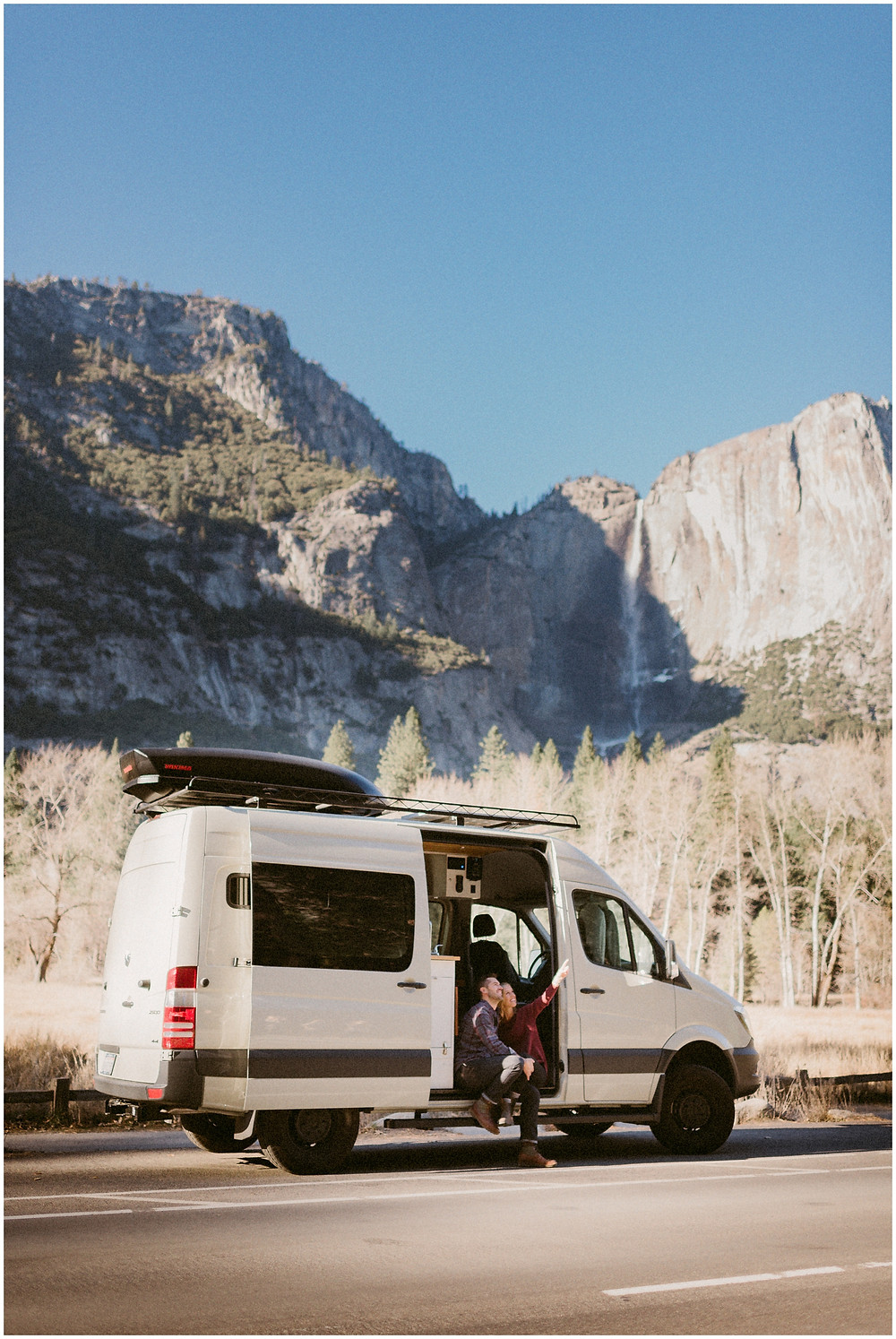 Couple's lifestyle session in a van in Yosemite by Mountainaire Gatherings