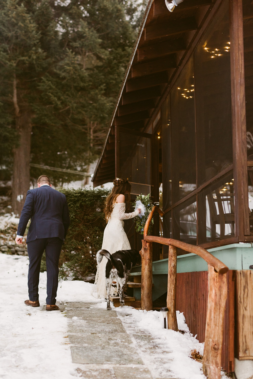 Bride enters her family's cabin on Schroon Lake | Adirondack Wedding Photography