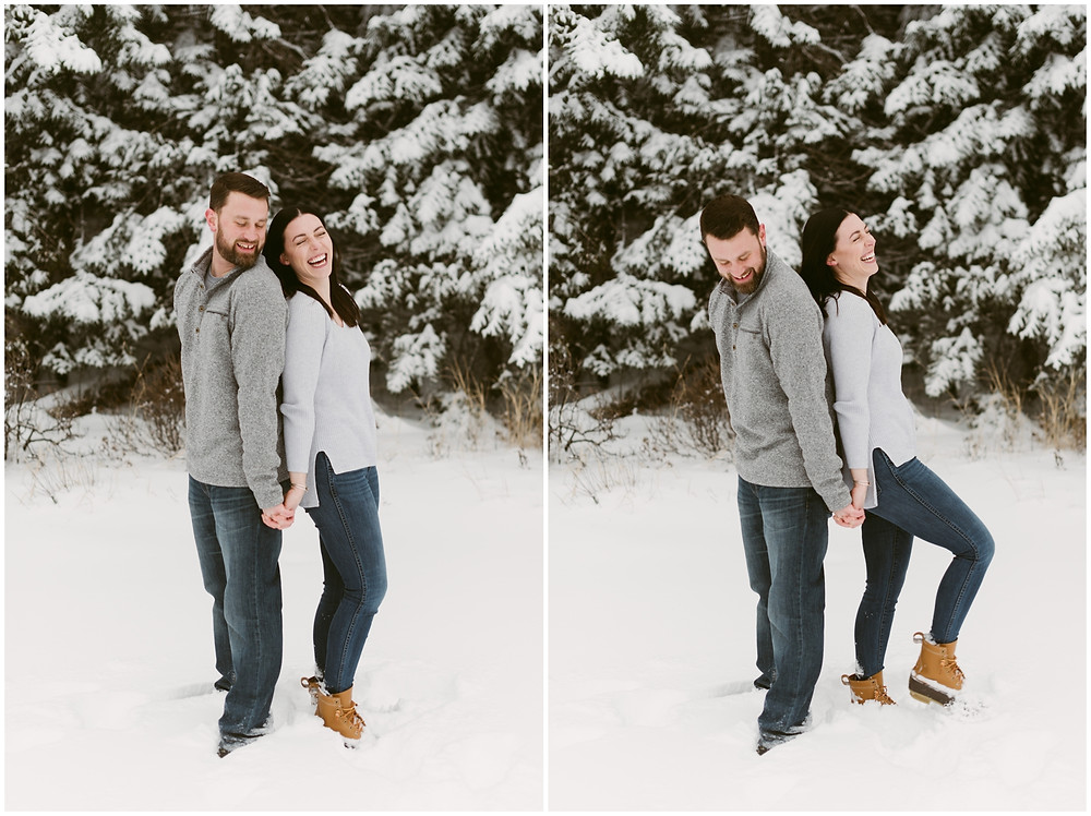 Snowy engagement photos in the mountains by Mountainaire Gatherings
