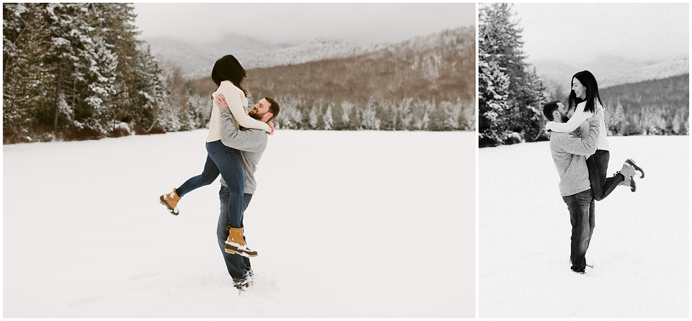 Engagement session on a frozen alpine lake in New York by Mountainaire Gatherings