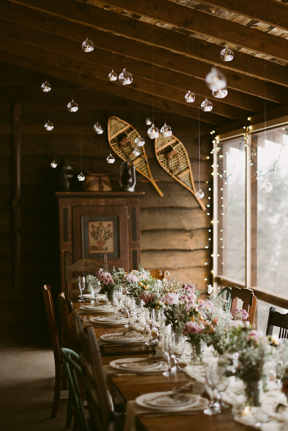 Rustic table setting for a winter wedding on Schroon Lake