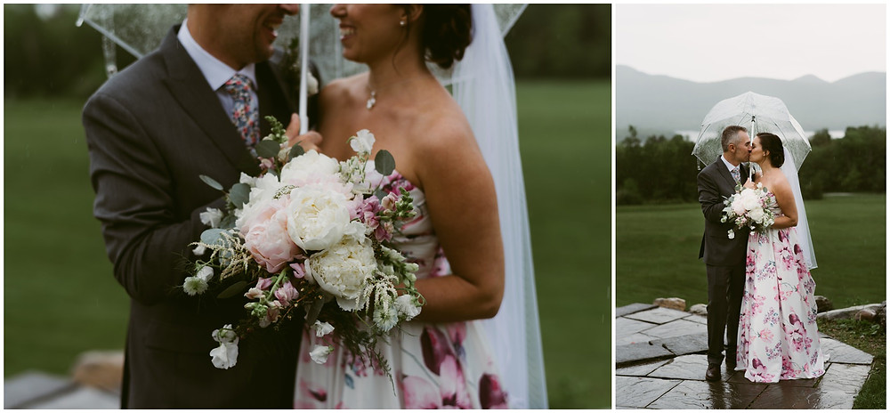 Bride and groom portraits with clear umbrellas