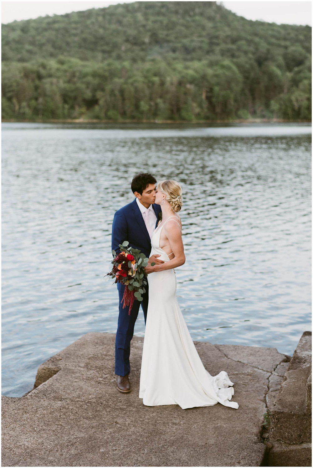 summer wedding on Lake Pleasant in New York