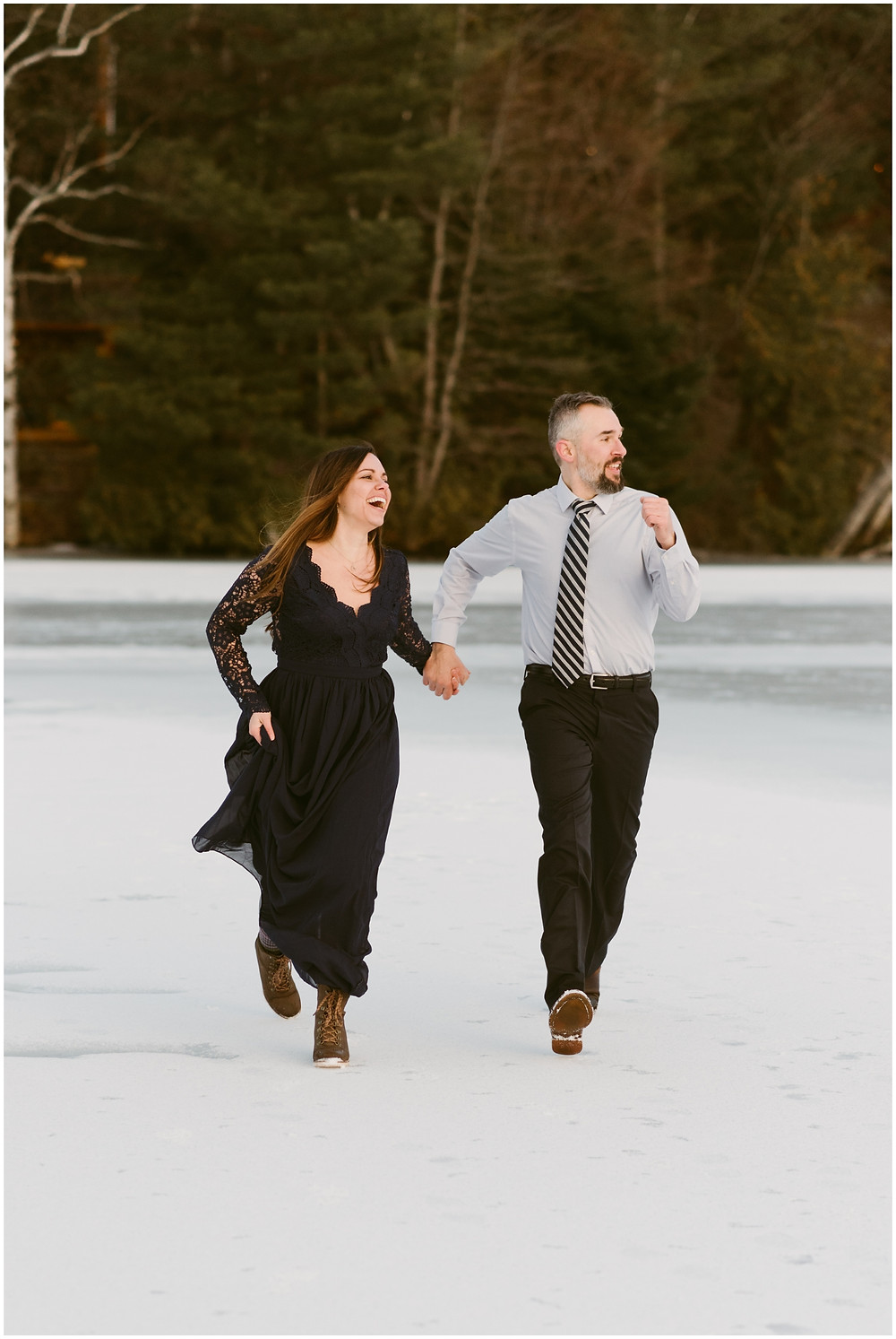 Fun engagement photography in Lake Placid by Mountainaire Gatherings