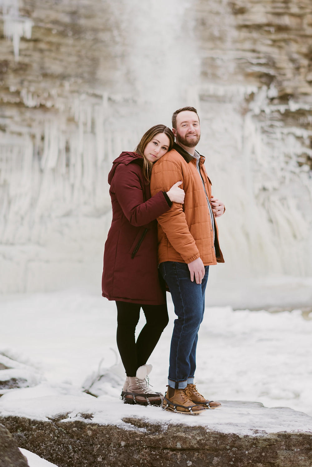 Winter engagement session at Awosting Falls in Minnewaska State Park