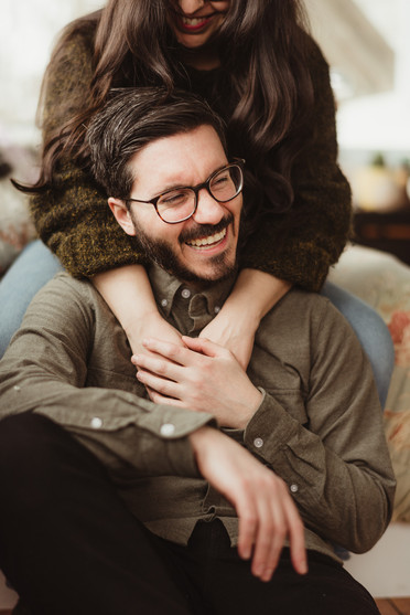Comfortable In-Home Engagement Session | Adirondack Wedding Photographer | Mountainaire Gatherings