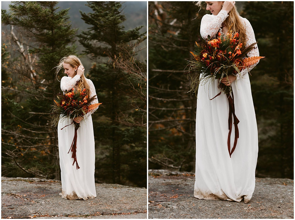 fall adirondack bride with foliage bouquet by Mountainaire Gatherings