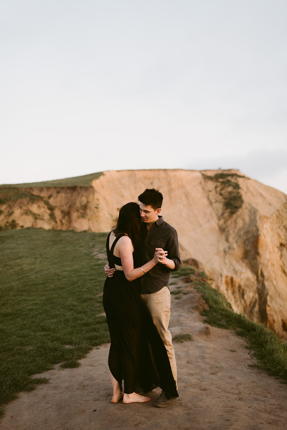 Gorgeous Californian Engagement Photos taken at sunset at Point Reyes