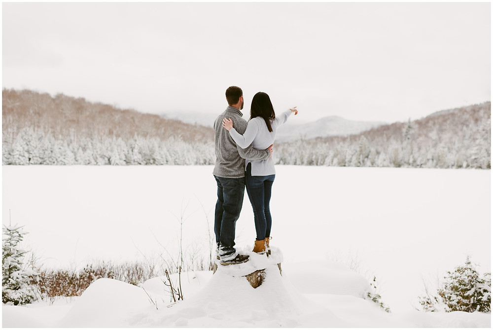 Adventurous, outdoor engagement photos in the Adirondacks by Mountainaire Gatherings