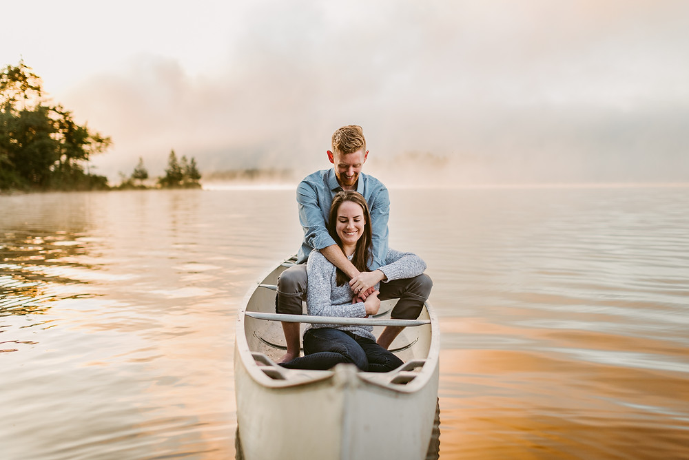 Sunrise engagement photos at private family camp in Old Forge, NY by Mountainaire Gatherings
