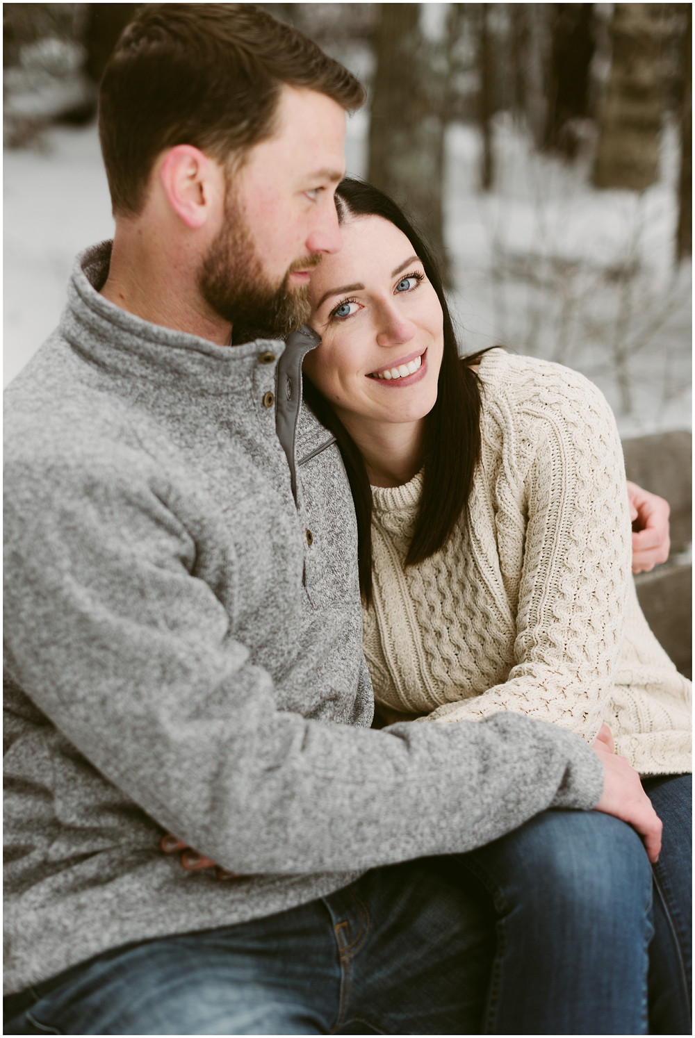 Snowy engagement session at the Adirondack Loj by Mountainaire Gatherings