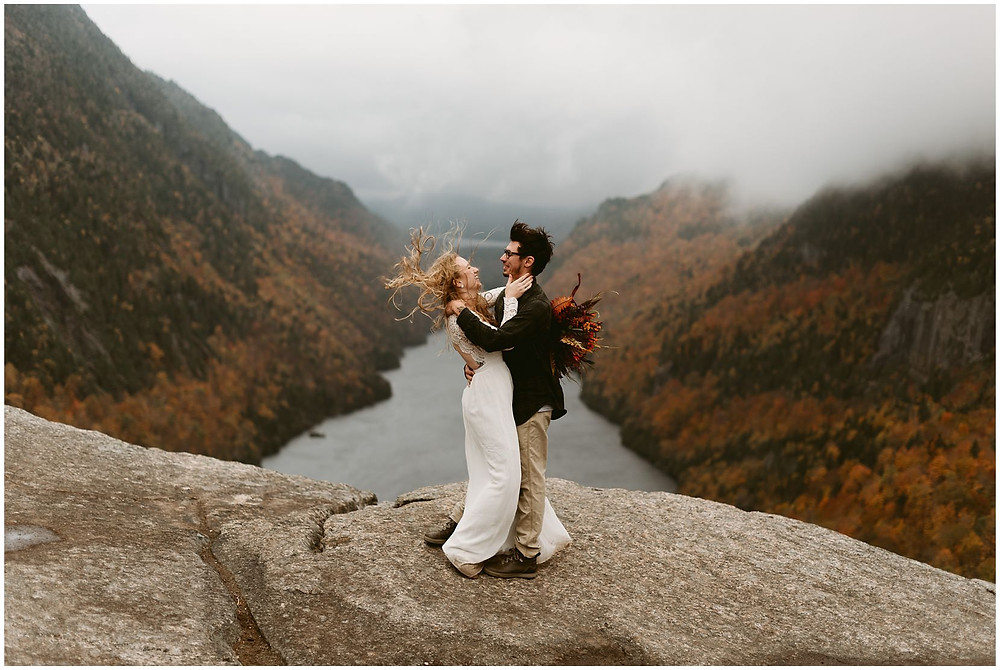 adventurous, sunrise elopement at indian head in keene, ny by Mountainaire Gatherings