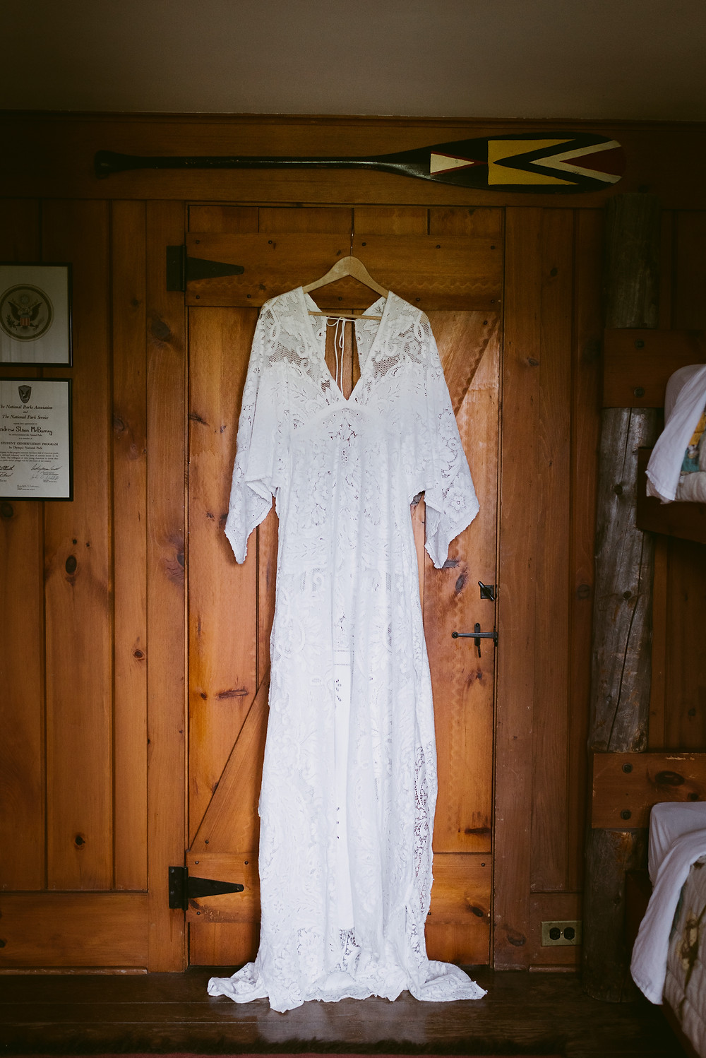 We Are Reclamation wedding dress in rustic River Ranch bedroom