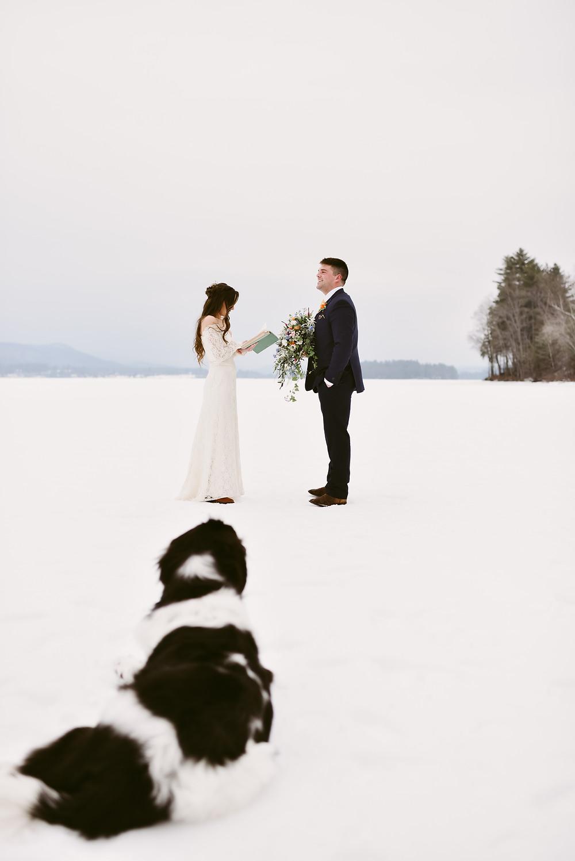 Couple recites their wedding vows as pet dog watches