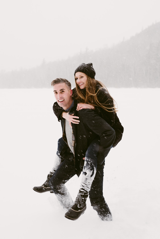 Adirondack winter engagement photos