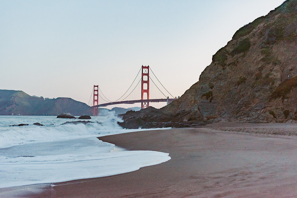 Romantic Sunrise Engagement Session at Baker Beach, California