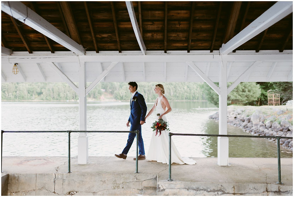 beautiful summer wedding on a lake