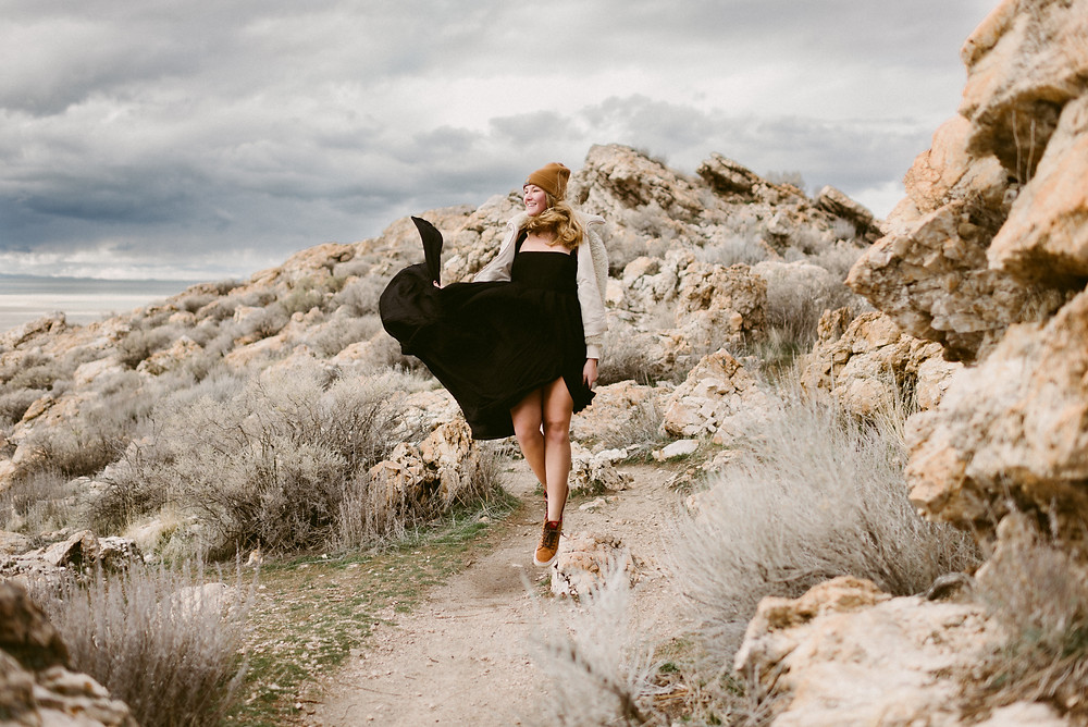 Bridal Portraits at Antelope Island | Utah Adventure Wedding Photographer