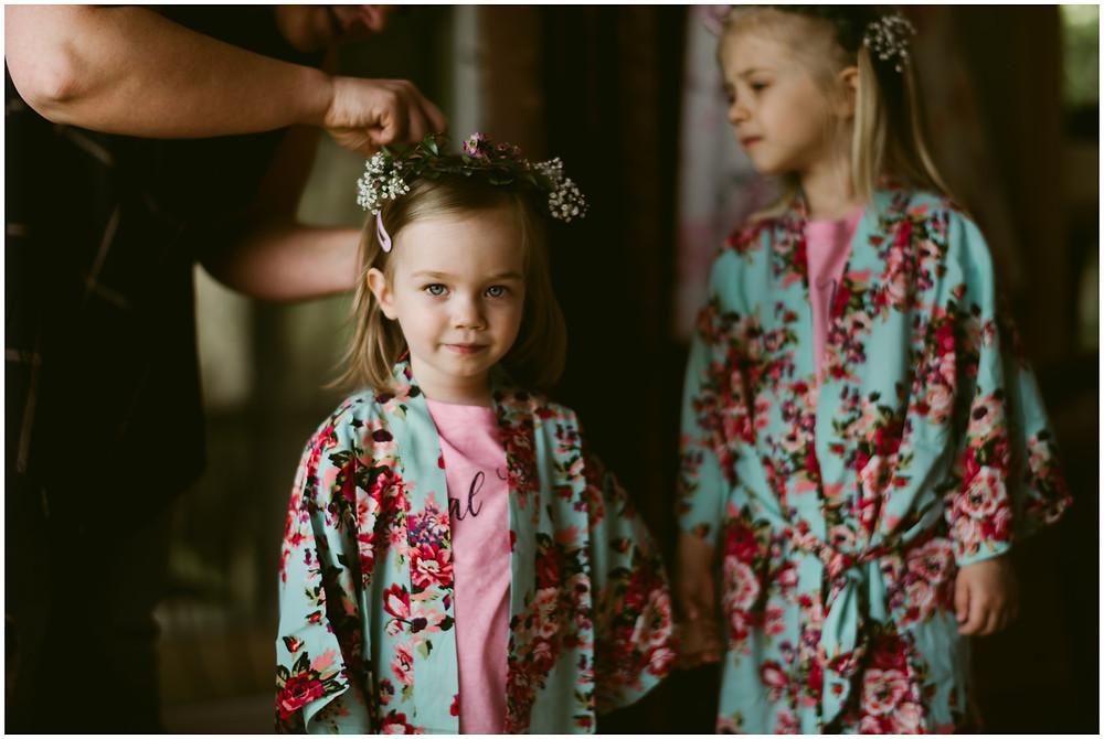 Floral bridesmaids robes at spring wedding in VT