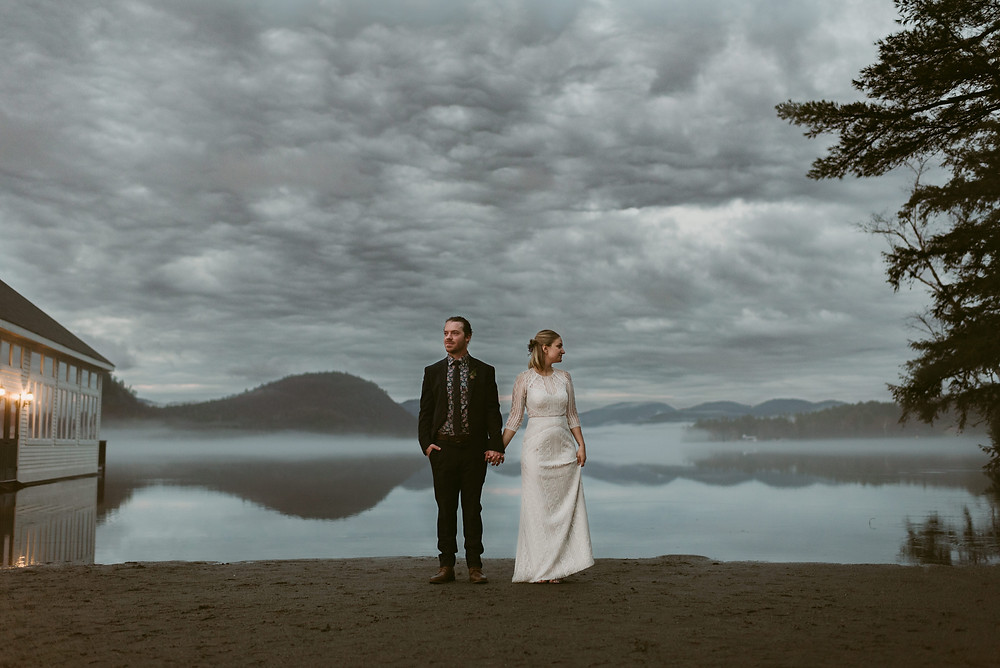 Rainy spring wedding at summer camp in Brant Lake by Lake George wedding photographer Mountainaire Gatherings