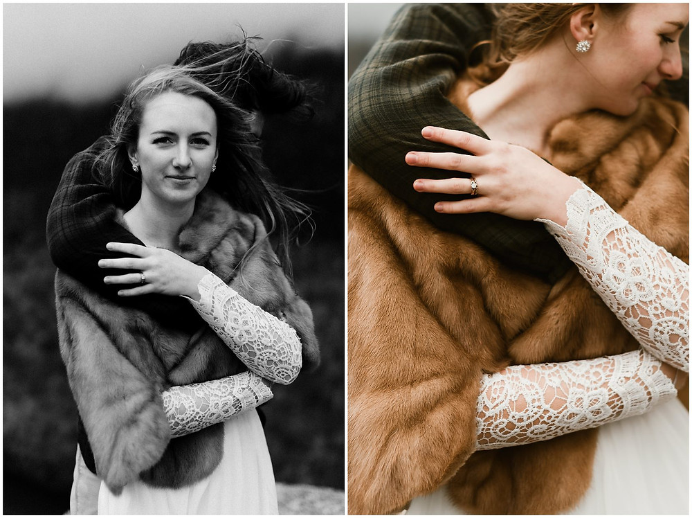 windy portraits of bride and groom by Mountainaire Gatherings