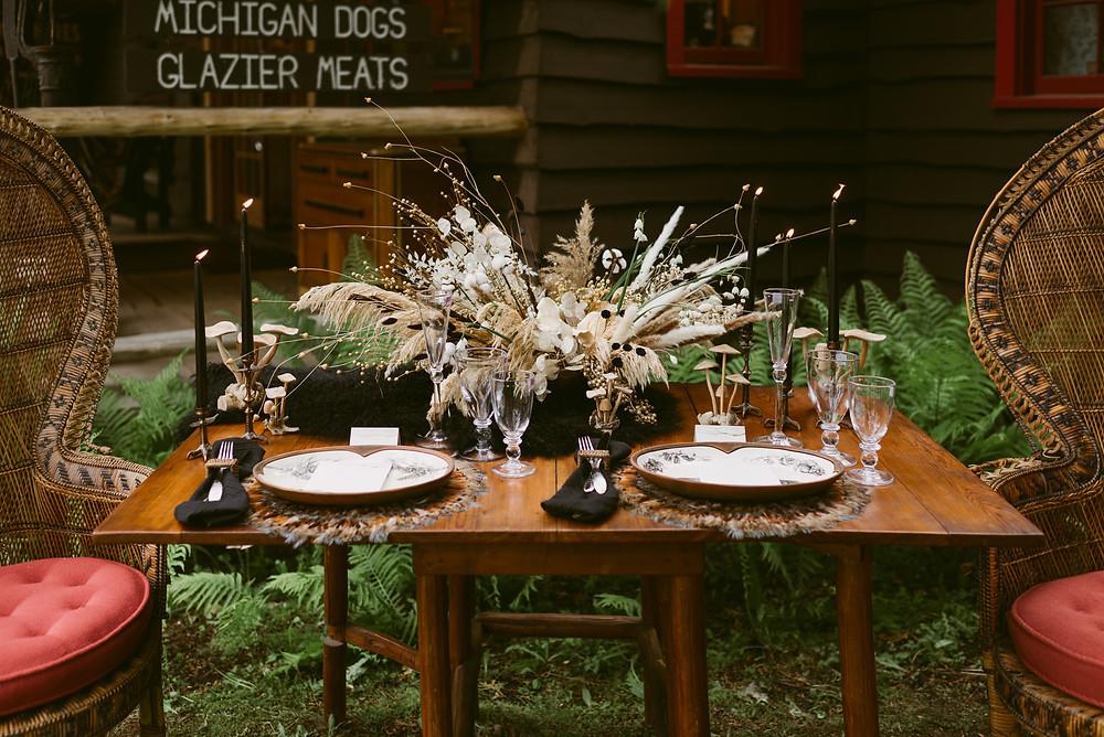 Elegantly rustic wedding table at The Adirondack Store in Lake Placid, NY