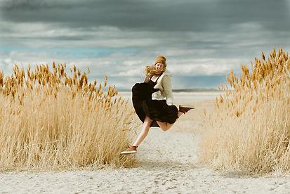 Teenager jumps for joy at the Salt Flats in Utah