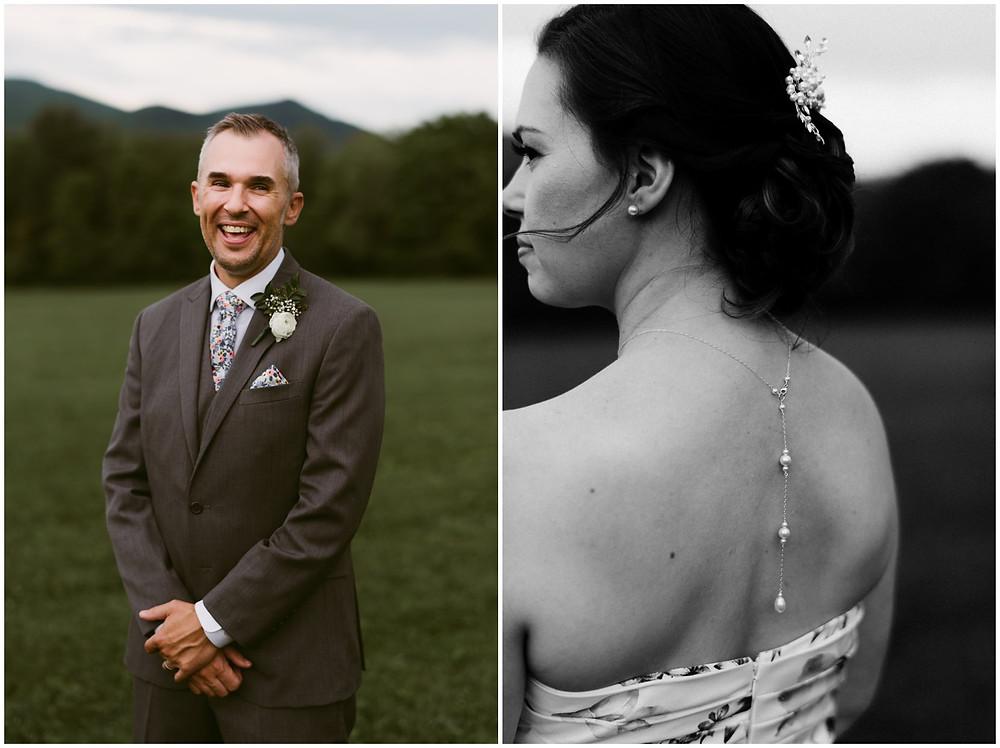 Bride and groom photos in Chittenden, Vermont