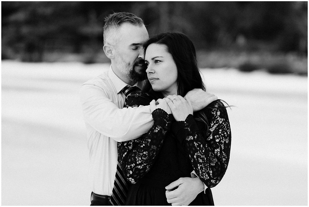 Black and white romantic couple's portrait by Mountainaire Gatherings