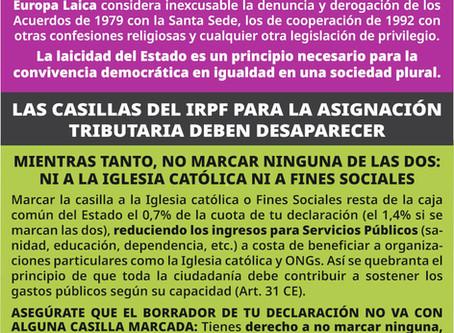 Europa Laica pide defender lo publico y no marcar ninguna casilla del IRPF.