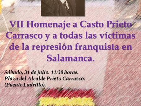 VII Homenaje al alcalde Casto Prieto y a todas las víctimas de la represión franquista en Salamanca