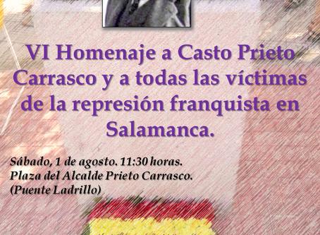 VI Homenaje al alcalde Casto Prieto y a todas las víctimas de la represión franquista en Salamanca