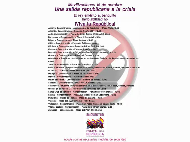 Vídeo: Concentraciones republicanas convocadas el 18 de octubre.
