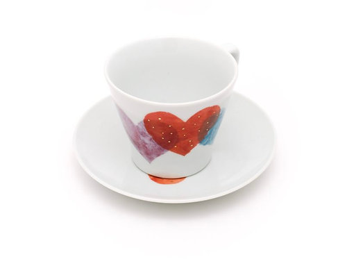 Rainbow Heart / Cup and Saucer by Higashigama Studio, Tobe, Japan