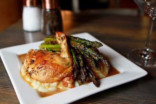 Roasted Chicken with Cauli-Mash & Asparagus