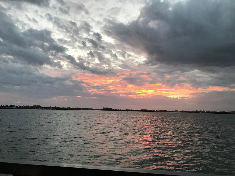 Sunset over St. John's Pass, FL; Dec., 2018
