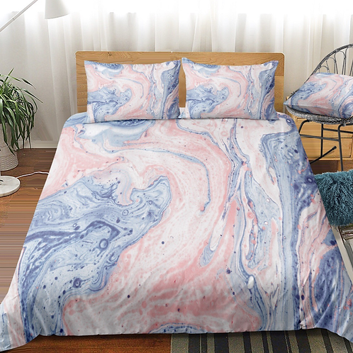 Marble Blue and Pink Design 3 Piece Duvet Set