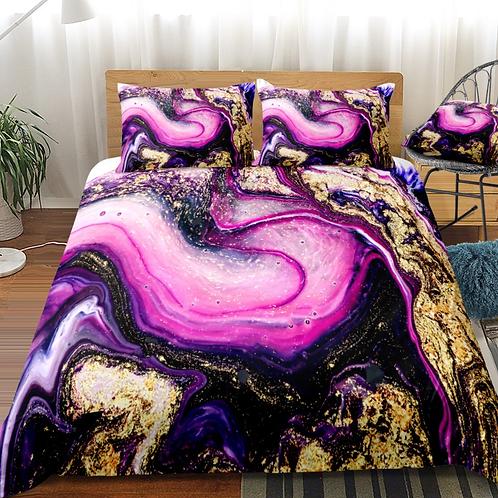 Marble Gold and Pink Design 3 Piece Duvet Set