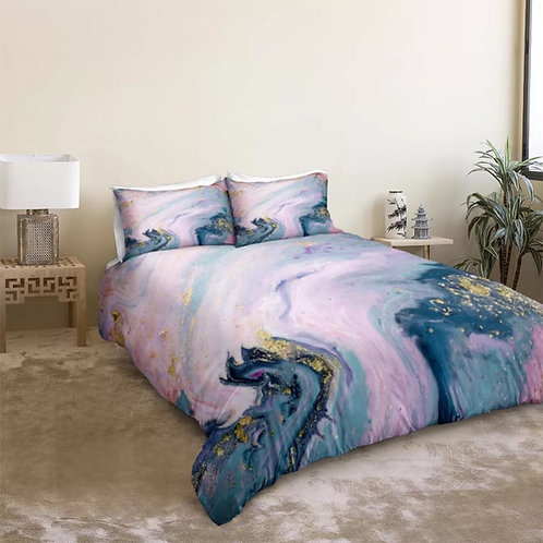 Marble Pink Blue Quicksand Design 3 Piece Duvet Set