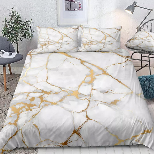 Marble White and Gold Design 3 Piece Duvet Set