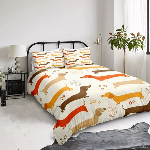 Dachshund Design 3 Piece Duvet Set