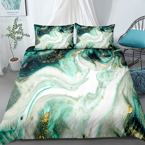 Marble Gold and Green Design 3 Piece Duvet Set