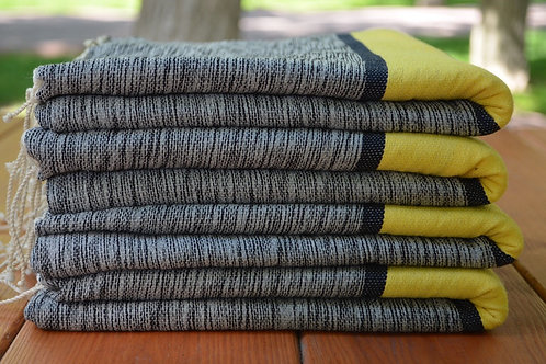 4 Piece  Pure Cotton Turkish Yellow Gray Peshtemal Towel Blanket