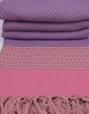 Pure Cotton Pink Purple Turkish Throw Aztec King Blanket