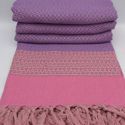 Pure Cotton Pink Purple Turkish Throw Aztec King Blanket