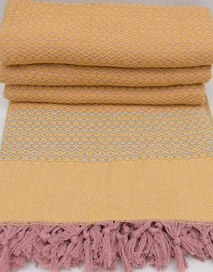 Pure Cotton Pink Orange Turkish Throw Aztec King Blanket