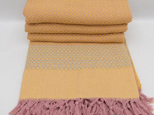Pure Cotton Pink Orange Turkish Throw Aztec King Blanket