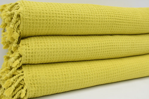 Pure Cotton Turkish Yellow Waffle Bedspread Blanket Throw